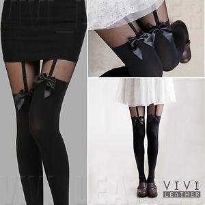 New Vintage Sexy Cute Stockings Pantyhose Tattoo Mock Bow Suspender Sheer Tights   eBay