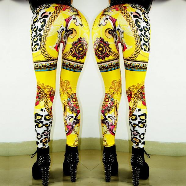leggings yoga yoga leggings fitness printed leggings yellow leggings baroque leggings