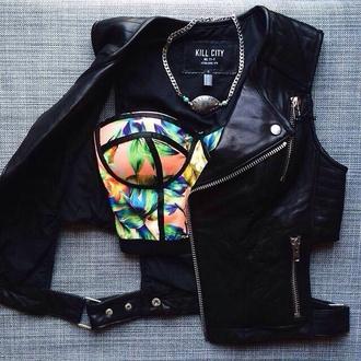 leather vest leather jacket black leather jacket biker jacket bustier bustier crop top floral top necklace jacket floral