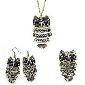 Set Retro Woman Vintage Style Bronze Owl Pendant Necklace Earrings Ring Jewelry | eBay