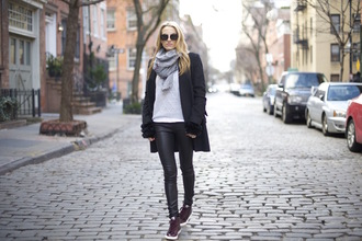 mind body swag blogger grey sweater leather pants sneakers pants sweater coat sunglasses shoes bag gloves scarf