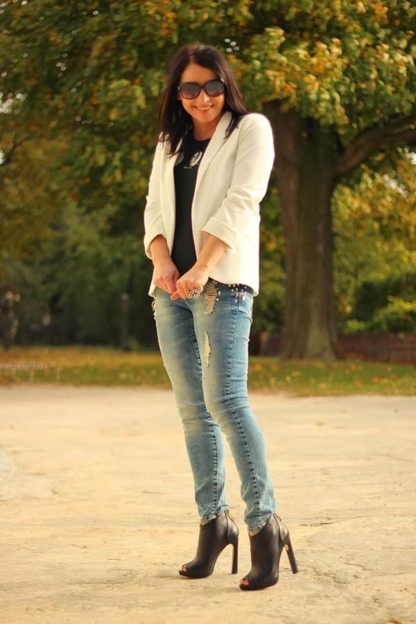 jacket blazer persunmall white blazer white