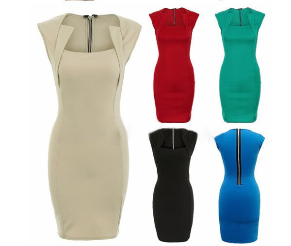 New Womens' Elegant Vintage Square neck Bodycon Stretch Fitted with Zipper Party Pencil dresses Knee length casual Dress SC014-in Dresses from Apparel & Accessories on Aliexpress.com