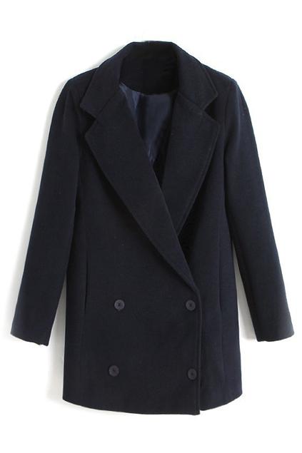 ROMWE | ROMWE Lapel Buttoned Loose Black Coat, The Latest Street Fashion