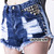 """Slashed"" Blue High Waisted Ripped Studded Denim Shorts Rad Festival 