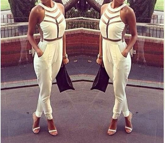 2014 New Fashion Women Sexy Bandage Jumpsuit Mesh Patchwork Bodysuit Bandage Dress Celebrity Bodycon dress Black White S M L-in Jumpsuits & Rompers from Apparel & Accessories on Aliexpress.com
