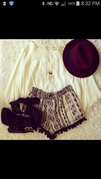 blouse shorts hat