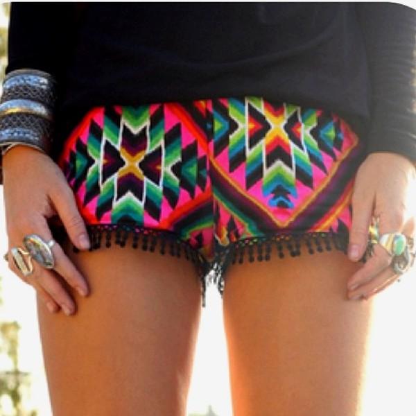 shorts colorful aztec aztec fringes fringe shorts aztec shorts tribal pattern hippie pattern