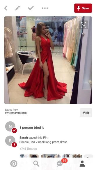 dress prom long red dress