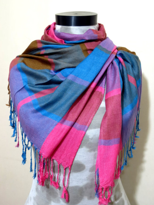 scarf multicolor multicolor scarf fringed scarf pink scarf turquoise scarf blue scarf mens scarf women scarf unisex