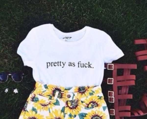 t-shirt pretty as fuck white graphic tee shorts