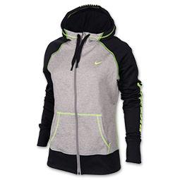 Women's Nike All Time Graphic Full-Zip Hoodie| FinishLine.com | Black/Dark Grey Heather/Volt