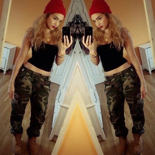 jeans swag beanie camouflage shoes hat tank top