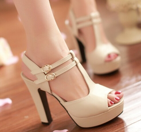 2014 open toe t strap thick heel platform sandals shoes summer ladies fashion ultra high heels sandals pumps for women plus size-inSandals from Shoes on Aliexpress.com