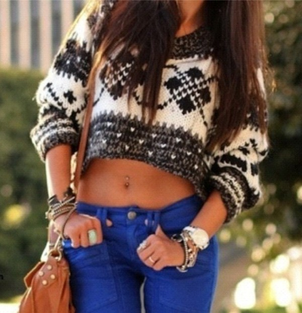 sweater pants skinny tumblr jumper long hair belly ring