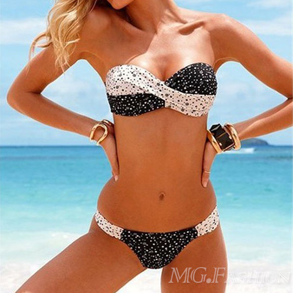 Women Sexy Push up Swimsuit Bikini Padded Beach Polka Dots Swimwear Set Top Bra | eBay