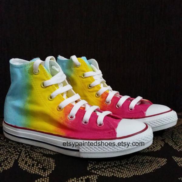 shoes rainbow shoes rainbow tiedye shoes tiedye converse converse chuck taylor all stars sneakers rainbow converse
