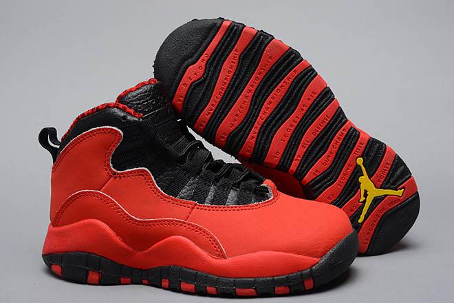 Fusion Red Orange and Black Colorways Girls Size Air Jordan Retro 10 Nike Sport Shoes