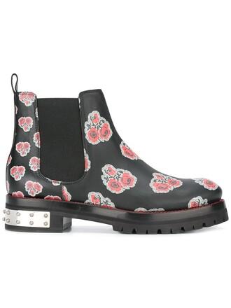 women spandex boots leather print black shoes