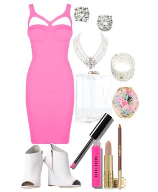 pink dress pearl booties burberry michael kors shoes bag jewels dress