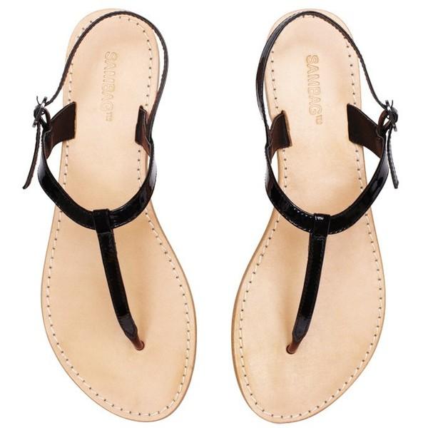 Heidi Black Plain Patent Sandals - Polyvore