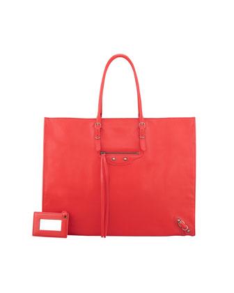 Balenciaga Papier A4 Leather Tote Bag, Red - Neiman Marcus
