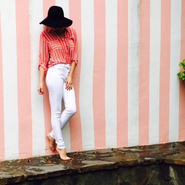 hat stripes striped shirt white jeans shirt
