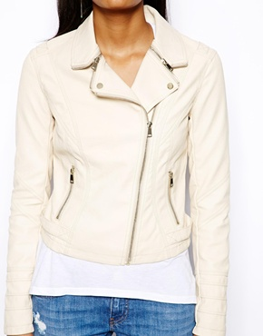 River Island | River Island Leather Look Biker With Gold Zips at ASOS