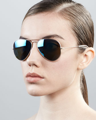 Ray-Ban Aviator Sunglasses with Flash Lenses, Gold/Blue Mirror - Neiman Marcus