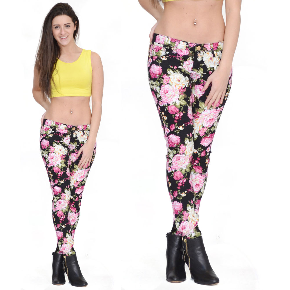 Black Pink Flower Floral Print Pattern Skinny Slim Fitted Stretch Jeans Trousers | eBay