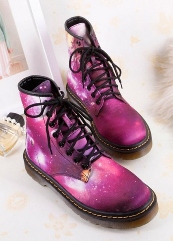 shoes harajuku boots girl street fashion style purple galaxy print