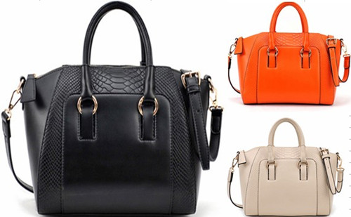 Womens Hot Orange Black Totes Handbags Shoulder PU Leather Work Business Bags | eBay