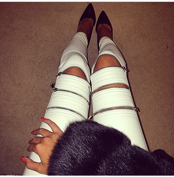 pants leather pants zipped pants white jeans