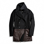 Coach :: WOOL CASHMERE AND LEATHER FITTED CAR COAT