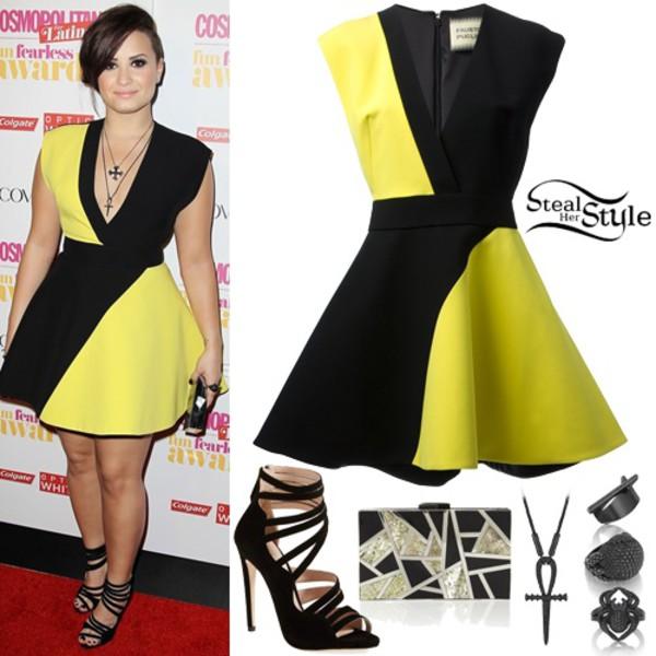dress demi lovato black and yellow dress