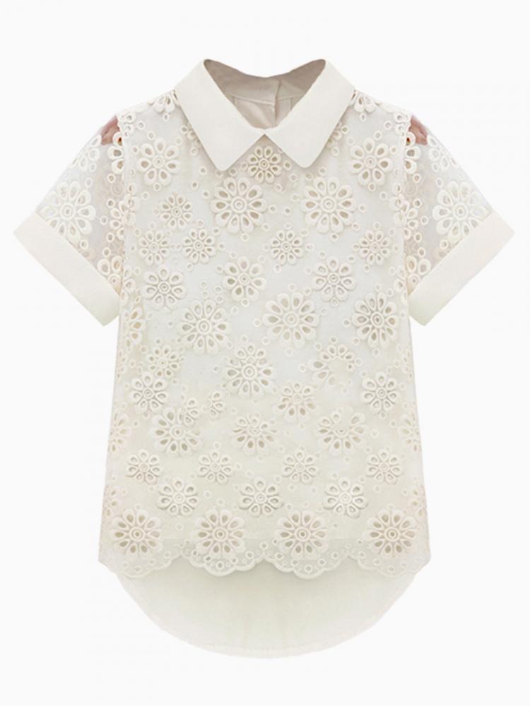 Cut Out Crochet Flower Short Sleeve Shirt In White | Choies