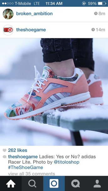 shoes peach floral shoes white adidas shoes