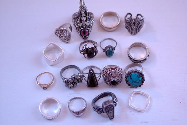 jewels ring ring pretty magic gold silver goth pastel goth grunge