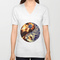 Fire & ice yin yang unisex v-neck by adh graphic design