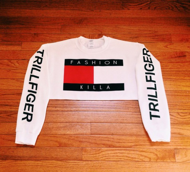 sweater tommy hilfiger white cropped sweater