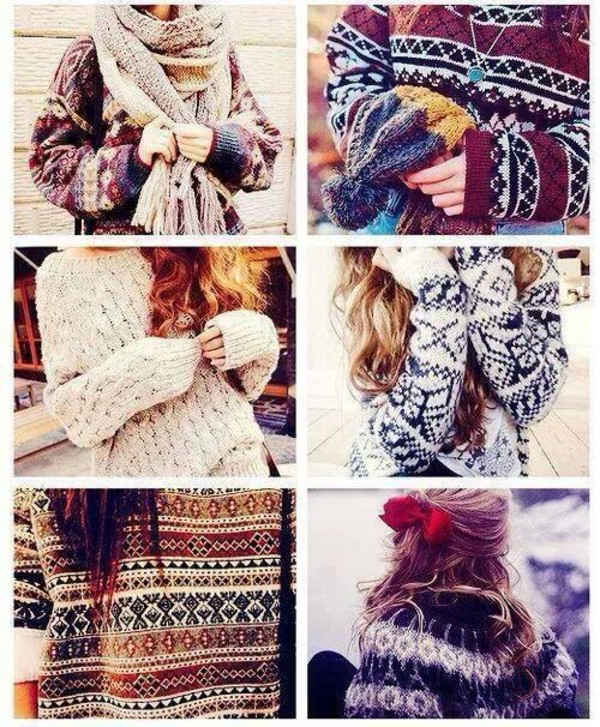 sweater winter sweater winter sweater winter outfits colorful scarf knitted sweater knitted scarf necklace blue red burgundy burgundy sweater white black black and white beige pattern brunette headwear