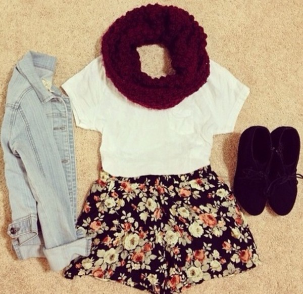 jacket infinity scarf plain white t shirt t-shirt white shirt floral skirt floral flowered shorts shorts denim jacket hipster vintage vintage fashion soft grunge t-shirt coat scarf shoes cool outfit