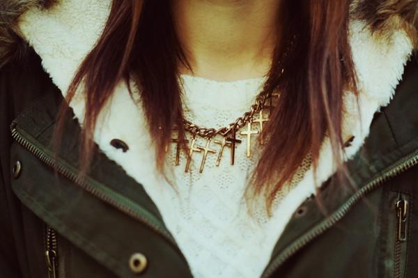 jewels romwe necklace cross gold