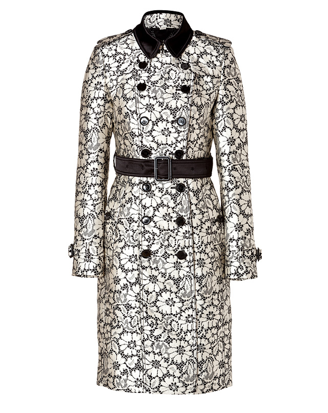 SilkBlendChurchfieldTrenchinBlack/WhiteLaceOpticfromBURBERRYLONDON | Luxury fashion online | STYLEBOP.com