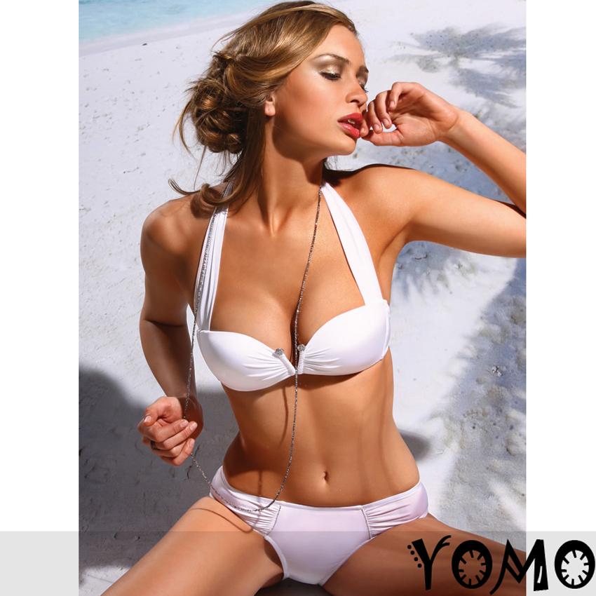 2 Pcs New Sexy White Women Push Up Padded Swimsuit Trikini Bikini Beachwear   eBay
