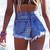 Dangers Acid Frayed Studded Shorts | RUNWAYDREAMZ
