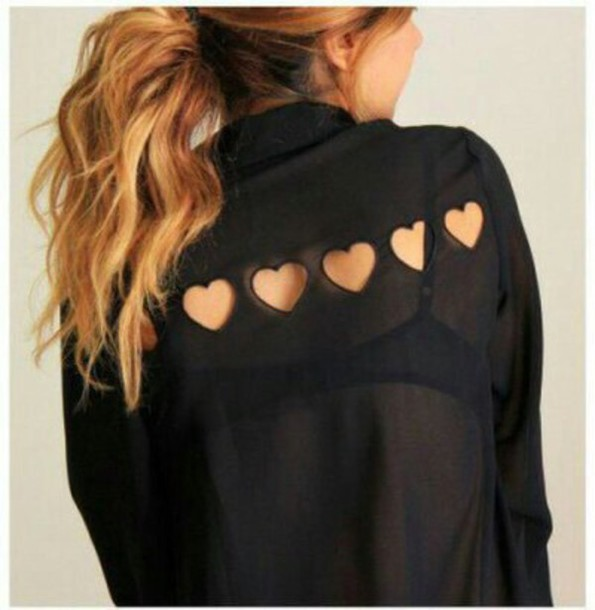 blouse black top shirt heart