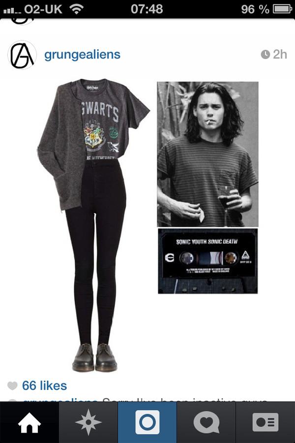 shirt grunge hogwarts harry potter grey black leggings