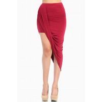LoveMelrose.com From Harry & Molly   Overlapped Draped Skirt - Red