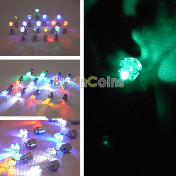 New 1 Pair Fashion Glowing Light Up Party LED Earrings Drop Crystal Ear Studs | eBay